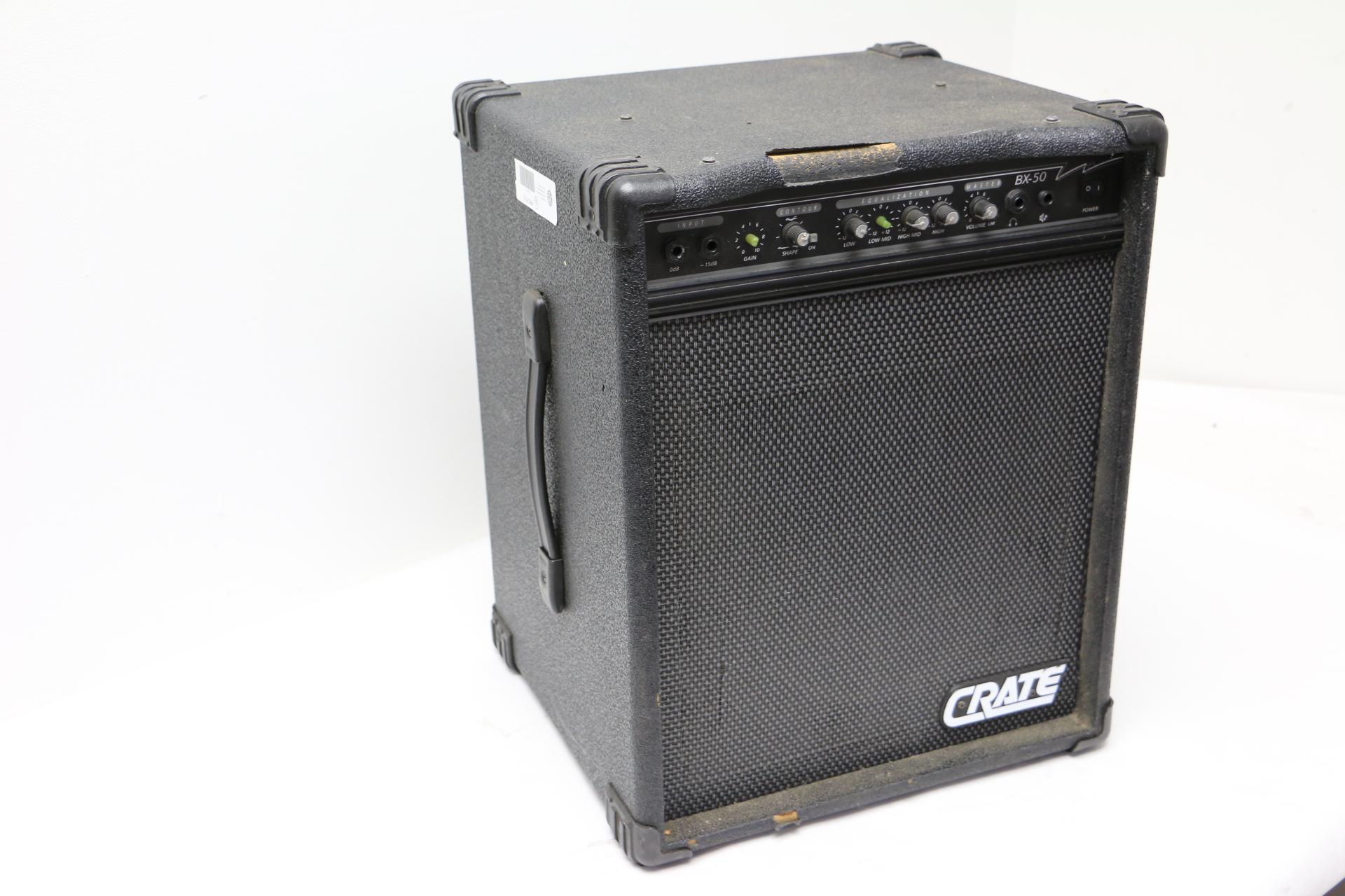 crate bx50 bass combo amplifier 120v 60hz bx50 amp bx 50 eq contour gain 8ohms ebay. Black Bedroom Furniture Sets. Home Design Ideas