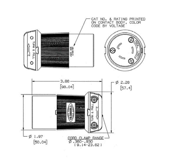 lot of 10 hubbell hbl2633 30a 277v twist lock plug female